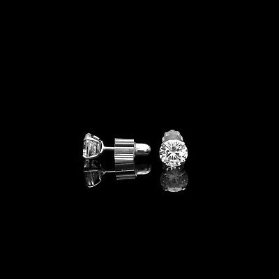 1ct Round Cut Created Diamond Earrings 14K White Gold Solitaire Screwback Studs 9