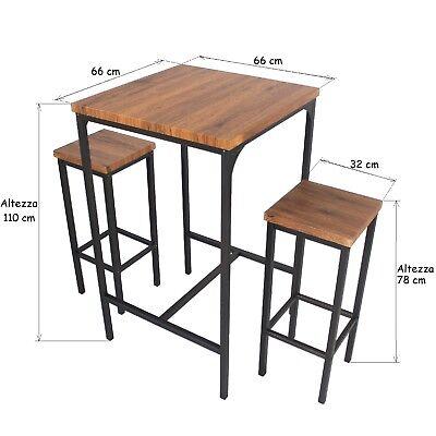 Tavolo Bar Sgabelli.Set Tavolo Bar Quadrato E 4 Sgabelli Mod Roma Marrone Noce H 110 Cm Arredamento