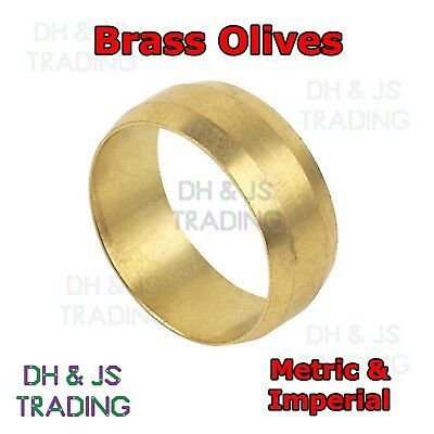Brass Compression Olives - Barrel Plumbing Tube Pipe Olive Metric & Imperial
