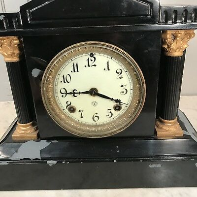 Antique Victorian black slate mantel clock - restoration project 3