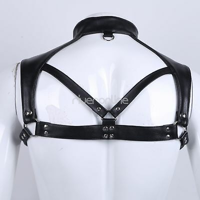 Herren Brust Harness Leder Halsband Leather Cuir Einstellbar Körpergeschirr sexy 5