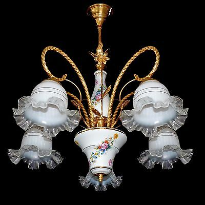 Vintage Italian Flower Bouquet Porcelain & Murano Art-Glass Shades Chandelier 3