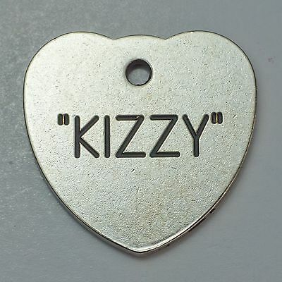 Quality Engraved Pet ID  tag - Large 30mm Heart Nicron (silver metal) tag