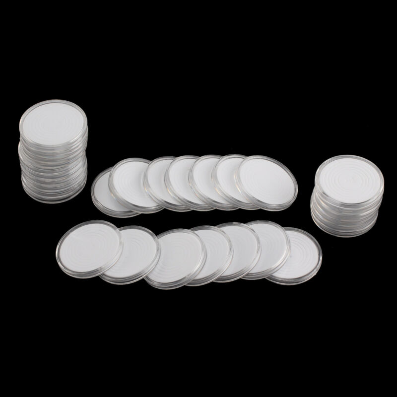 30 Pcs Coin Storage Box Clear Plastic Round Cases Capsules Holder Applied 46mm 2