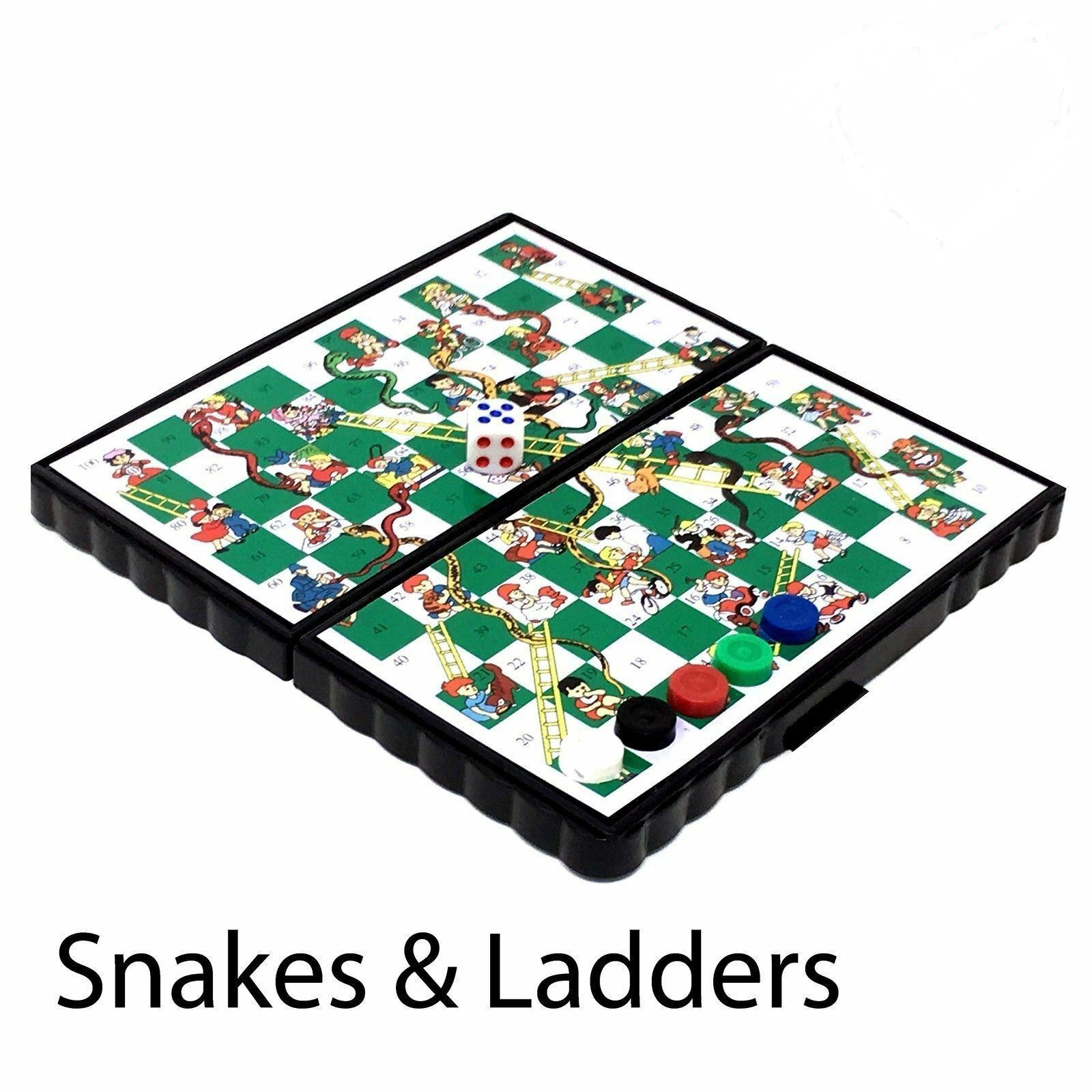Magnetic Travel Board Games set of 4 - snakes & ladders, ludo, chess, draught 5