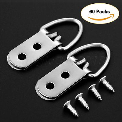 30/60Pcs 53*23mm Heavy Duty D-Ring Picture Hangers Frame Hanging 2 Hole + Screws 4