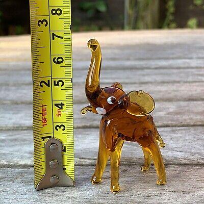 "VTG Italian Murano Art Glass Miniature Animal Figurine Amber Elephant 2 5/8"" 8"