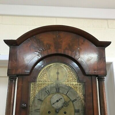 London long cased 8 day brass dial flamed mahogany cased 4