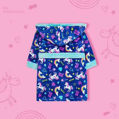 Kids Girls Unicorn Dressing Gown With Hood Neon Rainbow Soft Sizes 2-13 Years 3