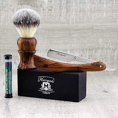 Wooden Handle Men's Shaving Brush With Synthetic Hair & Shavette Razor set
