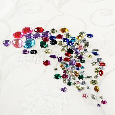 Assorted Colors Mixed Shape Beads Acrylic Rhinestones Gem Flat Back Sew On 100pc
