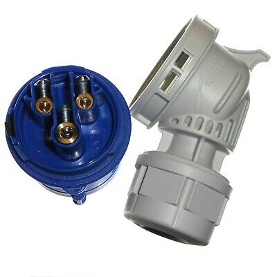 16A 3 Pin Angled Plug 1 Phase IP44 Caravan Camping 2P+E 230V Garo 16 Amp Blue 7