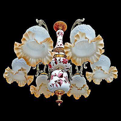 Fabulous Antique 1930 Art Deco/Lalique Art-Glass Style/Porcelain/Gilt Chandelier 4