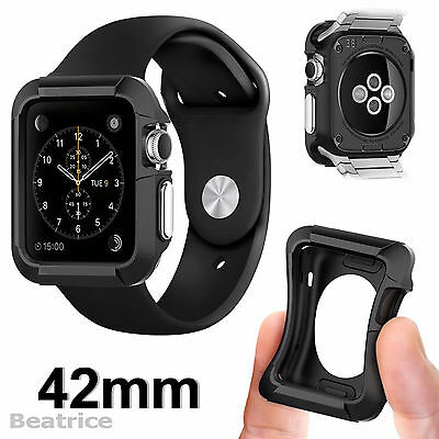 80740f83ad3 ... Apple Watch Case Cover Protector 42mm iWatch Black Protective Bumper  Rugged 2