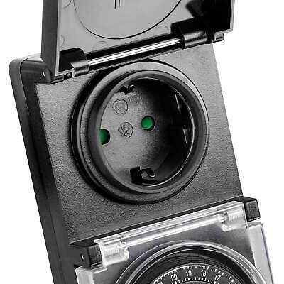 2x Zeitschaltuhr Außen IP44, analog, mechanisch, 24h Timer, für Steckdose SEBSON 5