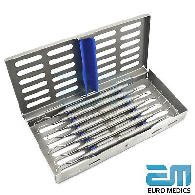 Set Of 7 Dental Clinical Gracey Curettes Periodontal Tools With Cassette FREE 6