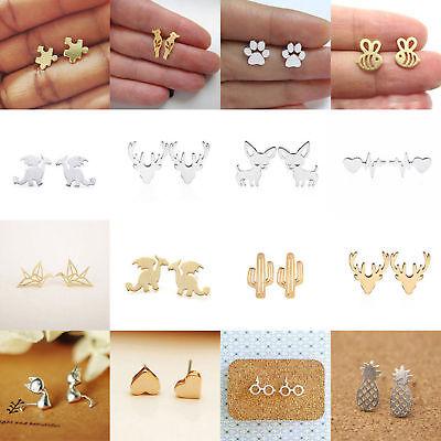 Fashion Women's Girl 925 Silver Sterling Earrings Cute Ear Stud Jewelry Gifts 2