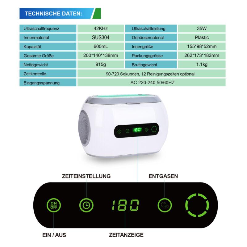 600ml Ultraschallreinigungsgerät Ultraschallreiniger Reiniger Ultrasonic Cleaner 2