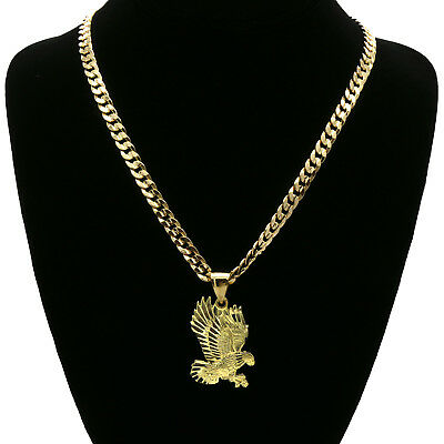 c35da657a18 ... Mens 18k Gold Plated Eagle Hip-Hop Pendant 6mm Cuban Chain Necklace 3