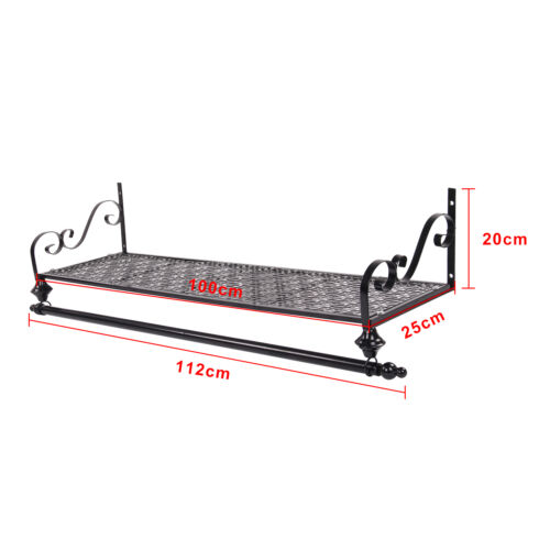Clothes Rail Wall Mounted Garment Hanging Rack Shelf Wardorbe Iron Heavy Duty 2 Of 10