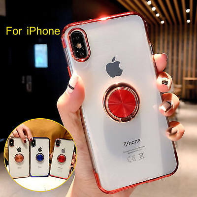 For iPhone XR XS MAX X 7 8 Plus Clear TPU Case Cover With Magnetic Ring Holder 7