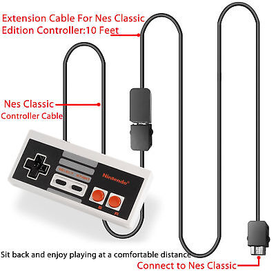 2x 10ft Controller Extension Cable Cord Nintendo NES Mini Classic SNES Extender