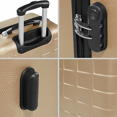 Set 3 piezas maletas ABS juego de maletas de viaje trolley maleta dura champán 6