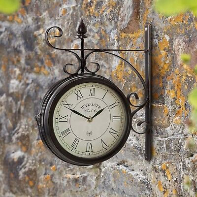 Wyegate Garden Station Clock Wall Mount Rooster Outdoor Thermometer Double Sided 5