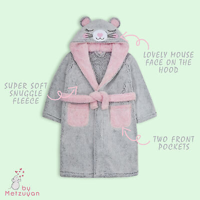 Girls Dressing Gown Novelty Mouse Kids Hooded Robe Fluffy Thick Snuggle Fleece 2