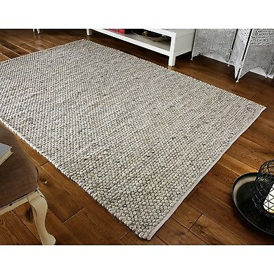 Small - Large Thick Light Grey Pebbles Bobbles Bobbly 100% Wool 3D Rug Clearance 2
