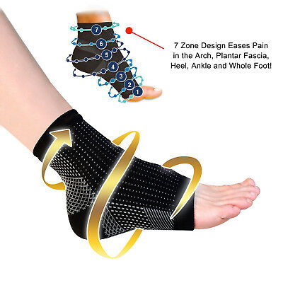 Foot Sleeve Plantar Facilities Compression Socks Sore Achy Swelling Heel Ankle 2