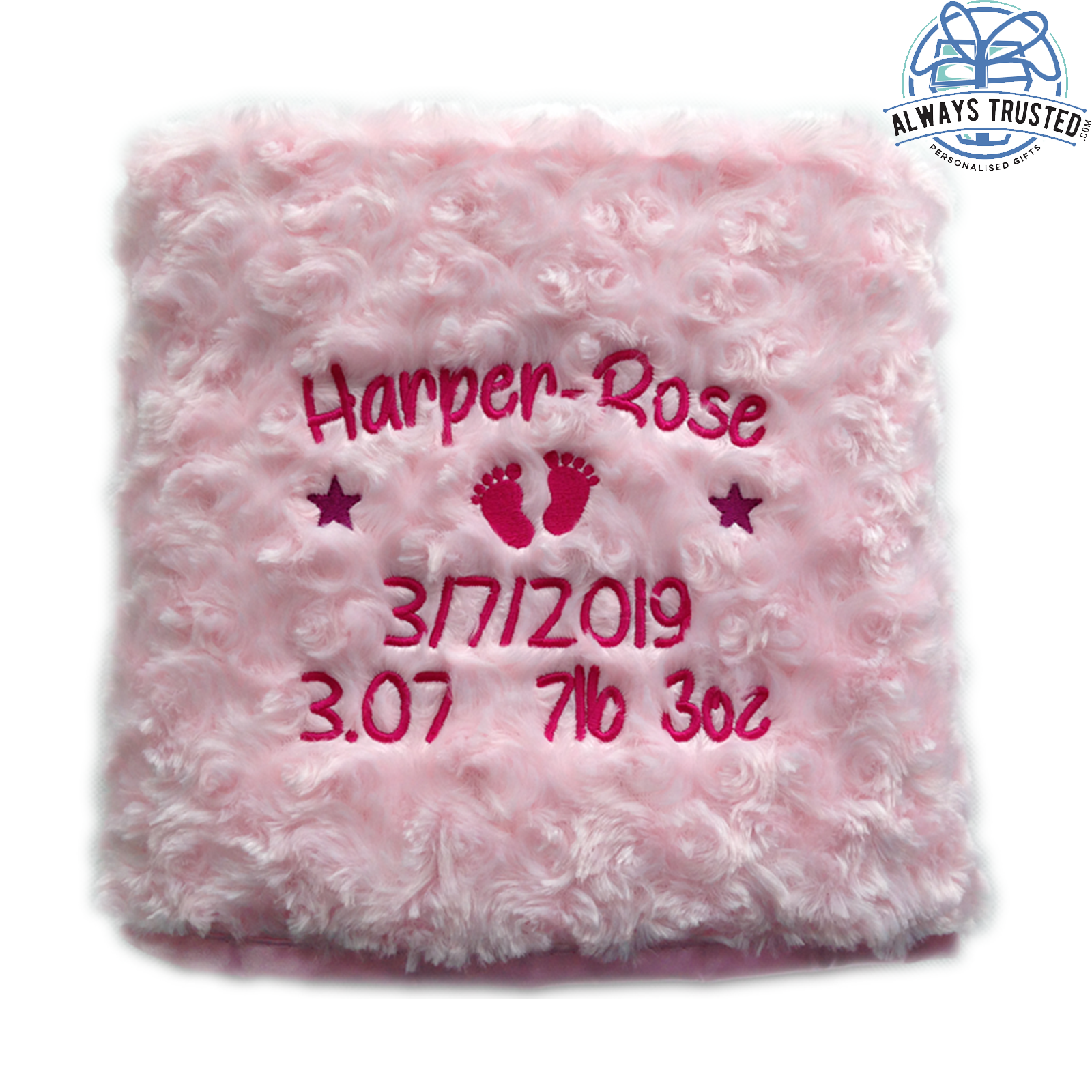 Personalised Baby Blanket Embroidered Soft Fluffy Gift 2