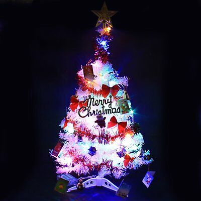 2 Ft Tabletop Artificial Small Mini Christmas Tree With Led Light Ornaments