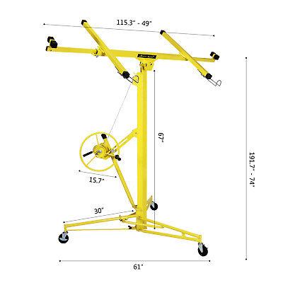 16-19' Drywall Panel Lifter Hoist Jack Rolling Caster Lockable DIY Tool Yellow