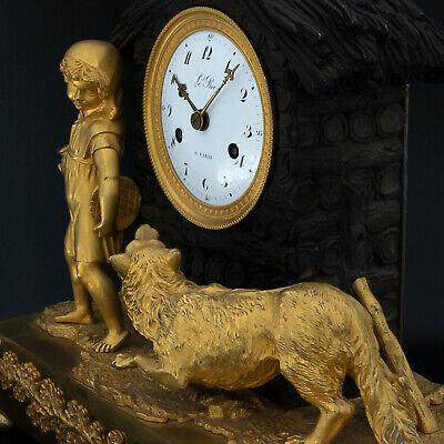 "Antique French pendulum clock ""Little Red Riding Hood"" LeRoi, montre horloge 5"