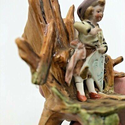 Antique Miniature Bisque Figurine Boy Kite Hand Painted 7
