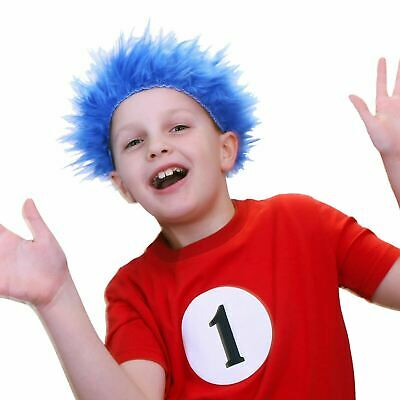 Blue Wig Child Cat Hat Fancy Dress Thing 1 2 Dr Seuss Book Day Child Adult Funny