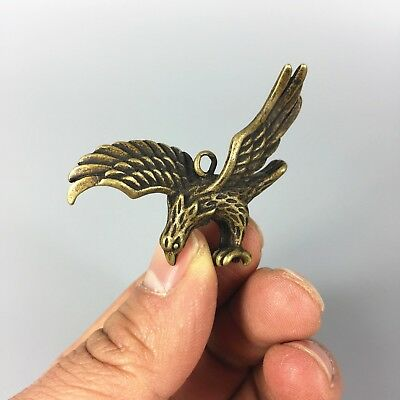 Antique Collectible Brass Handwork Flying Eagle Exquisite Pendant /Statue 4