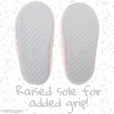 Childrens Girls Sugar Pink Slipper Silver Star Super Soft Plush Indoor UK 10-3 3