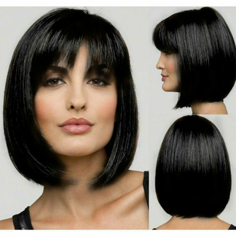 Femmes Black Style Bob Perruques Droites Cosplay Naturel Cheveux Courts G 2
