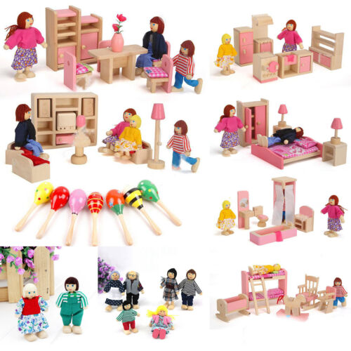 Kids Miniature Dollhouse Furniture Set Wooden House Family Pretend Play Toy Doll 2