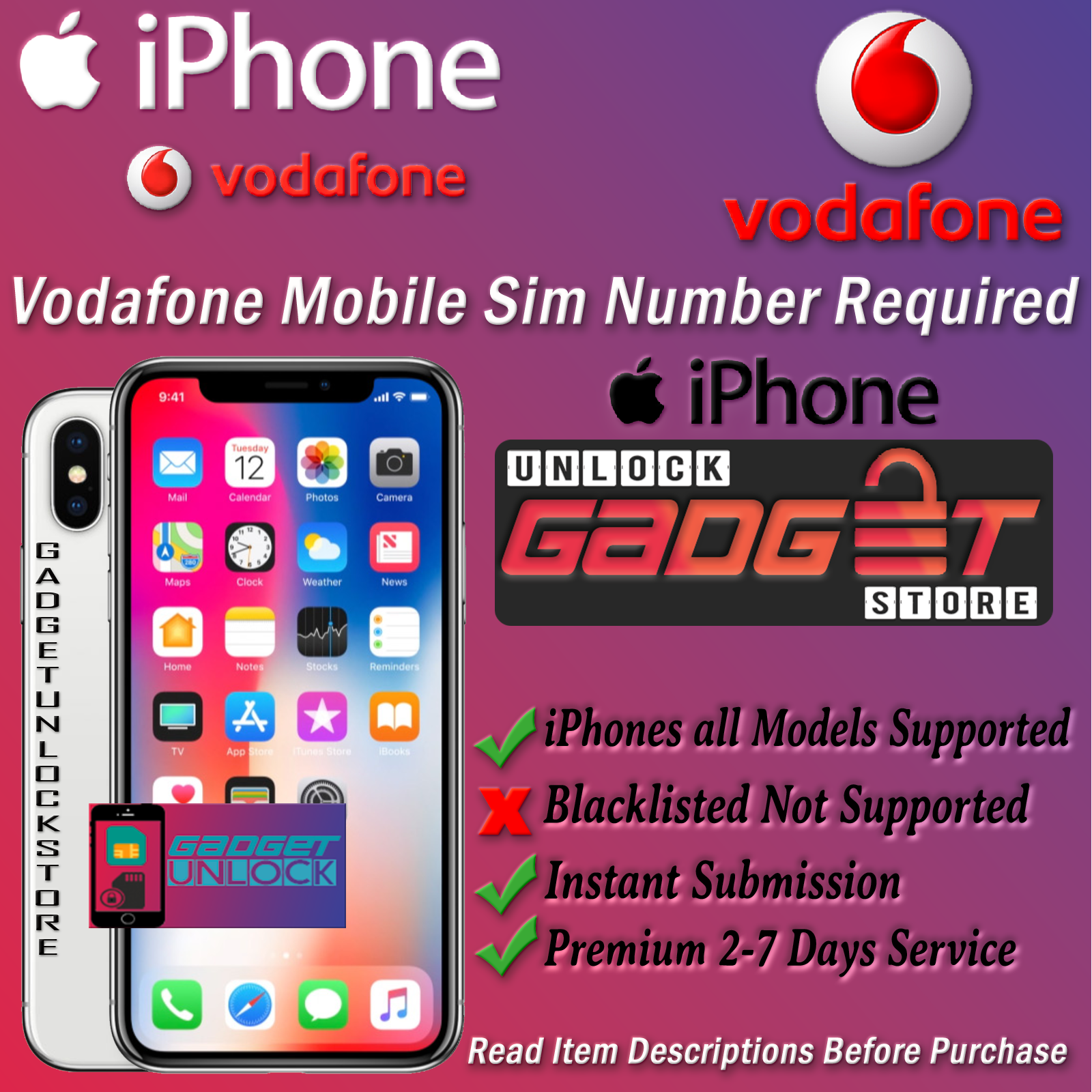 Unlock Service For iPhone 4 5 5S 5C SE 6 6S 7 8 X XS XR 11 Max Pro Vodafone UK 2