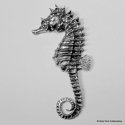 Seahorse Pewter Pin Brooch -British Hand Crafted- Sea Horse Marine Fish Aquarium 2