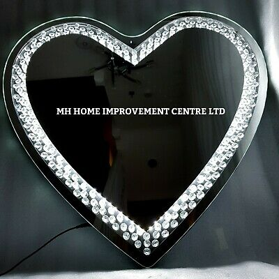 LED Light Up Love Heart Shaped Sparkly Floating Crystal Large Wall Mirror 70cm