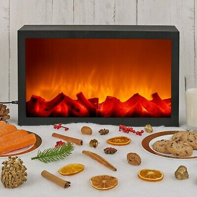 Wall Mountable LED Electric Plug In Flameless Log Fire Effect Fireplace Lantern 5