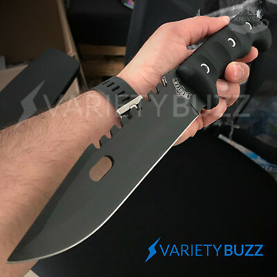 """12"""" TACTICAL SURVIVAL Rambo Full Tang FIXED BLADE KNIFE Hunting w/ SHEATH Rubber 3"""