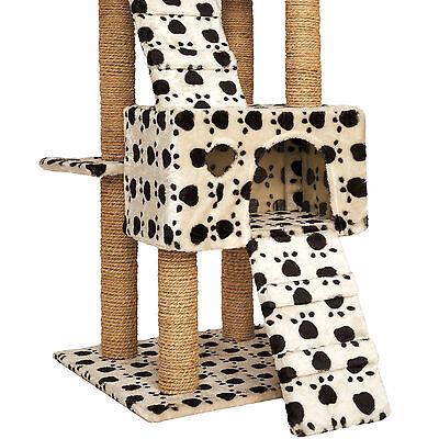 Arbre à chat griffoir grattoir jouet geant 2 grottes 169cm chats beige pattes 3
