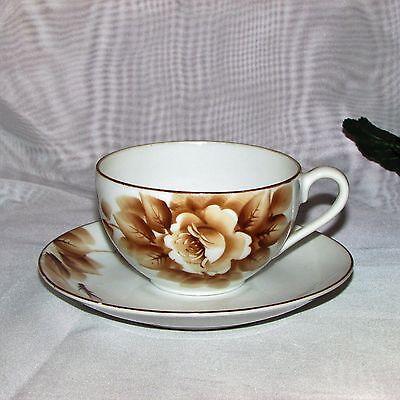 Vintage Cup & Saucer Occupied Japan Hand Painted Brown Rose Teacup Post Ww2 Era 2