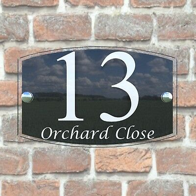 House Sign Plaques Door Number 1 - 999 Personalised Name Plate EMA5-13W 5