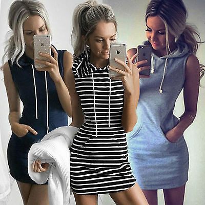 Womens Slim Bodycon Summer Bandage Mini Dress Hoodies Pullover Tops Size 6-14 2